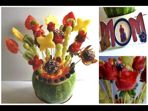 Mother's day special Edible fruit basket |Edible fruit bouquet|Edible fruit arrangement tutorial (видео)