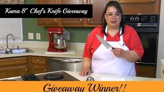 "GIVEAWAY WINNER! Join Amy as she announces the winner of the Kuma Knife Giveaway! The Kuma 8"" Chef's Knife is sharp and has a nice feel in your hand.  Amy put this product to the test by chopping, mincing, and slicing vegetables. If you would like to see the product test and review, please watch Amy's Sheet Pan Roasted Vegetables using the Kuma Chef's Knife: https://youtu.be/C5ZkaqSkFd4I received this product free of charge in exchange for my honest review.Kuma 8"" Chef' Knife 20% off coupon: http://bit.ly/amy-kumaKuma 8"" Chef's Knife:http://amzn.to/2m8tPiLAmy Learns to Cook is all about learning to make simple, tasty food from fresh ingredients.  One year ago, I made a commitment to stop eating processed convenience foods.  I decided to learn to cook ""real"" food. Join me!  Let's learn to cook together! Enjoy! Please share! Please SUBSCRIBE to my channel, LIKE, and leave a COMMENT.Please visit my website: www.amylearnstocook.comAny links in this description, including Amazon, are affiliate links.I received this product free of charge in exchange for my honest review."