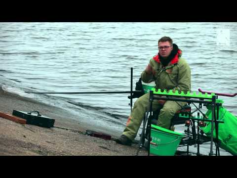 Feeder fishing for perch on the Volga — river