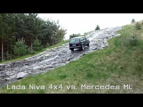 Lada Niva 4x4 vs. Mercedes ML am Wasserfall