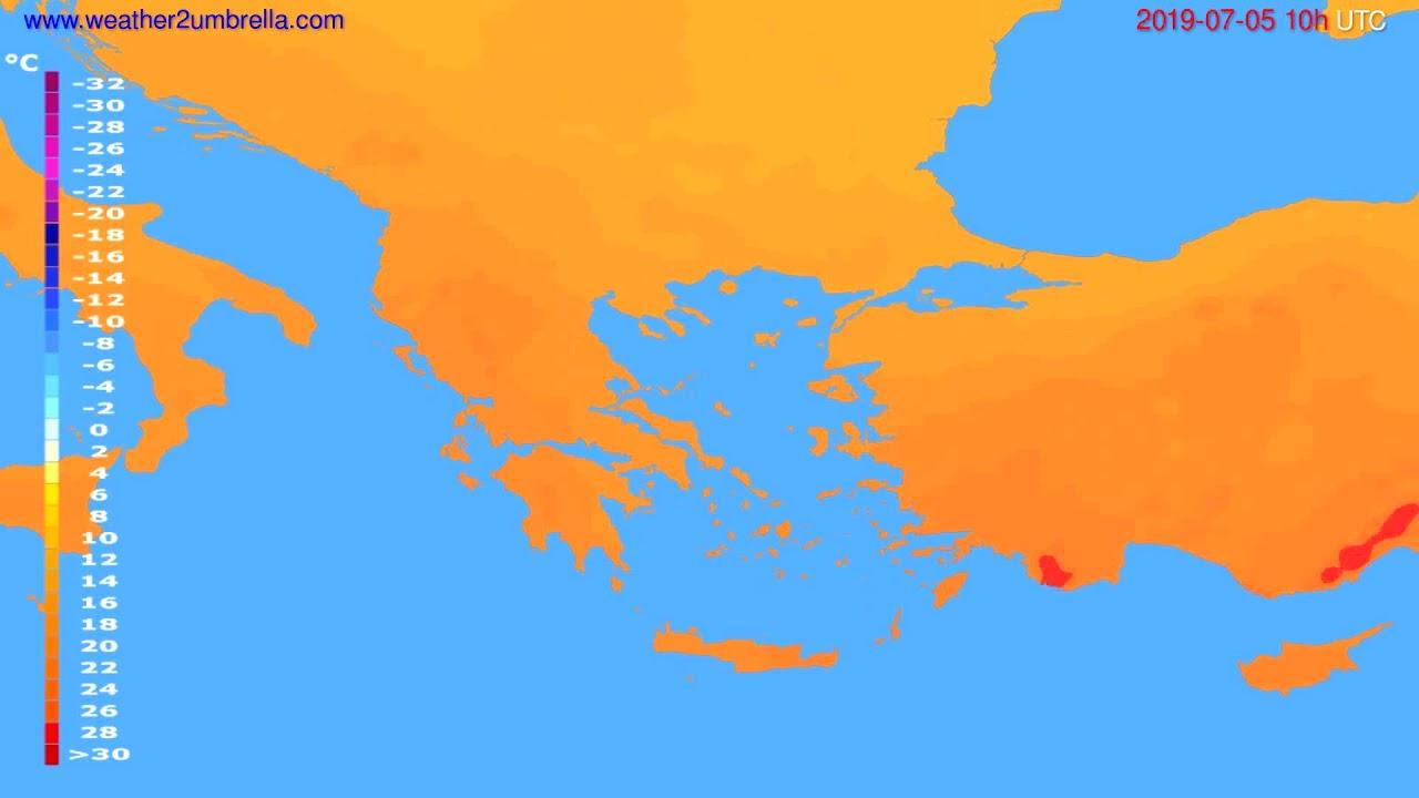 Temperature forecast Greece // modelrun: 00h UTC 2019-07-03