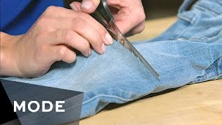 SNAP CHAT: @ModeStories   - In need of a style refresh? Before you rush out and drop major dollars on designer denim, find out how to give an old pair of jeans a simple—and oh-so-cheap!—makeover. http://mode.com/mode-videoFor more videos like this, visit us on MODE: http://www.mode.com/mode-video Follow us on Twitter: http://twitter.com/modestoriesFriend us on Facebook: https://www.facebook.com/modestoriesCheck us out on Instagram: http://instagram.com/modestoriesGet inspired on Pinterest: http://www.pinterest.com/modestoriesAdd us to your circle on Google+: http://bit.ly/glam-googleplus