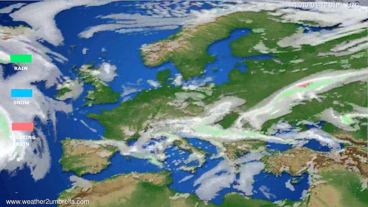 Precipitation forecast Europe // modelrun: 12h UTC 2019-04-10
