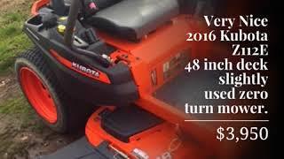 5. Very Nice 2016 Kubota Z112E 48 inch deck slightly used zero turn mower.