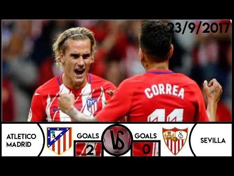 Atletico Madrid(2) vs (0)Sevilla (23/9/2017) - All Goals and Highlights HD