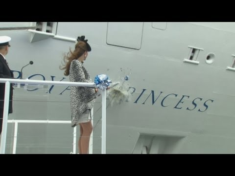 cambridge - The Duchess of Cambridge has taken part in her last solo engagement before her baby is born, naming a new cruise liner. Kate, who is around eight months preg...