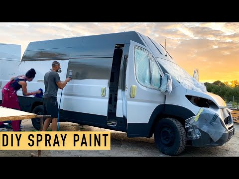 Spray Painting Our Van for $190! DIY Paint Job for Ducato Conversion w/ Timelapses! Ep. 3