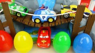 Video Cars and Poli car toys road set surprise eggs play MP3, 3GP, MP4, WEBM, AVI, FLV Desember 2017