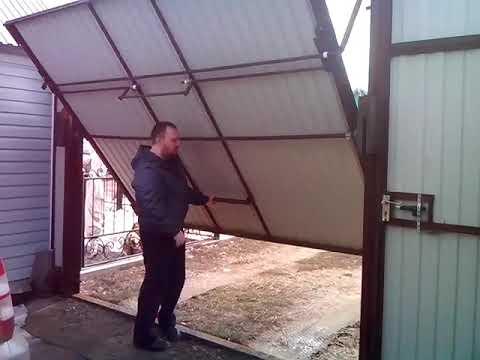 Ворота секционные подъемные своими руками видео