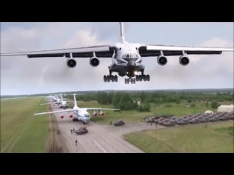 Russian Paratroopers Jumping From An Ilyushin Il-76, An-124 \