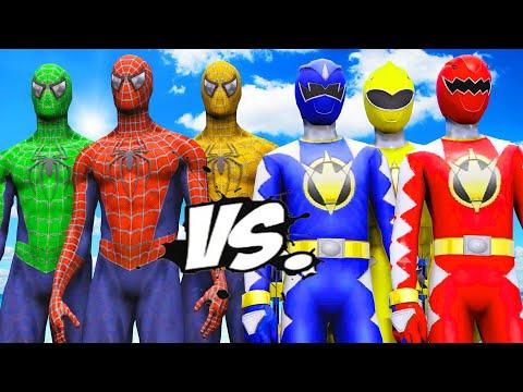 Spider-Man, Green Spiderman, Yellow Spiderman VS Red Ranger, Blue Ranger, Yellow Ranger