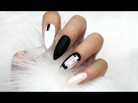 BLACK AND WHITE NEGATIVE SPACE NAILS | MARBLE NAILS | STILETTO (ALMOND) NAILS | GEOMETRIC NAILS