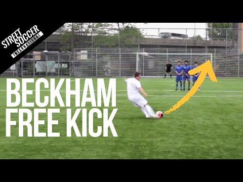 david beckham - David Beckham Free kick tutorial. Learn to Bend it like Beckham with this how to video from STR. Please Subscribe to become a better player http://bit.ly/sub...