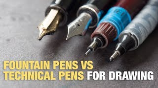 Check out this quick guide and comparison of fountain pens vs technical pens. I talk about the pros and cons.All fountain pens I've reviewed:http://www.parkablogs.com/tags/fountain-pen-reviewsTechnical pens detailed comparisonhttp://www.parkablogs.com/picture/fine-liner-pen-shootout-%E2%80%93-comparison-of-fine-liner-pens-marketFind me onYoutube: https://www.youtube.com/user/teohycParkaBlogs: http://www.parkablogs.comFacebook: https://www.facebook.com/parkablogsTwitter: https://twitter.com/ParkaBlogsFlickr: https://www.flickr.com/photos/parkablogsTumblr: http://parkablogs.tumblr.com/Instagram: https://instagram.com/parkablogsGumroad: http://gumroad.com/parkablogsPatreon: https://www.patreon.com/parkablogs
