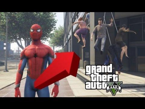 【GTA5】スパイダーマンMODが凄すぎる!暴れまくってみた【アベンジャーズ】 (видео)