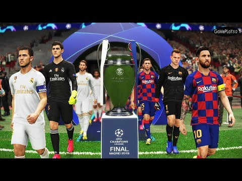 Barcelona vs Real Madrid - Final UEFA Champions League 2020 UCL - Messi vs Hazard - PES 2019