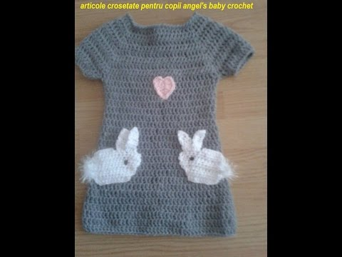 DIY.Tutorial Crochet Bunny Dress Rochita Crosetata Cu Iepurasi