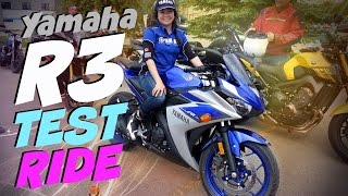 9. 2015 Yamaha YZF-R3 Test Ride, Female Motorcycle Rider