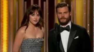 January 11th, 2015 - JAMIE DORNAN AND DAKOTA JOHNSON presenting at the Golden Globe Awards
