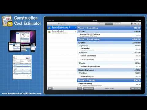 Construction Cost Estimator App for the Mac, iPad, and iPhone