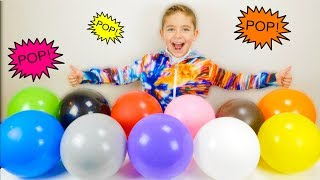 BALLOON POP CHALLENGE ! Learn Colors with Balloons Surprise Toys & Exogini