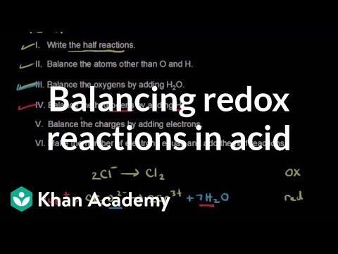 Balancing redox reactions in acid video khan academy ccuart Choice Image