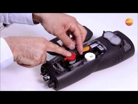 testo 340. 9. Замена сменного фильтра от перекрёстной чувствительности для газового сенсора