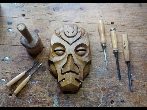 Carving a Dragon Priest Mask Out Of Walnut [8:12]