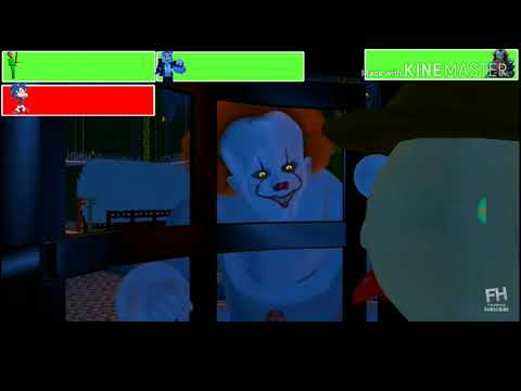 Baldi, Sonic, and Steve (FH) vs Pennywise with healthbars