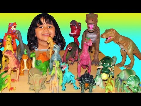 30 Dinosaurs My Entire Collection of Dinosaur Toys T-Rex Fight For Kids