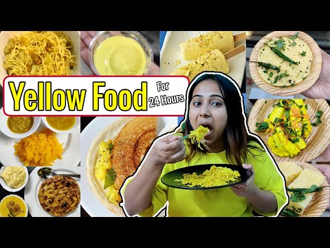 Eating only💛 YELLOW 💛Color Food for *24 Hours*   Types of Yellow Color Dishes   Food Challenge