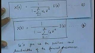 Lecture - 10 Linear Prediction Of Speech
