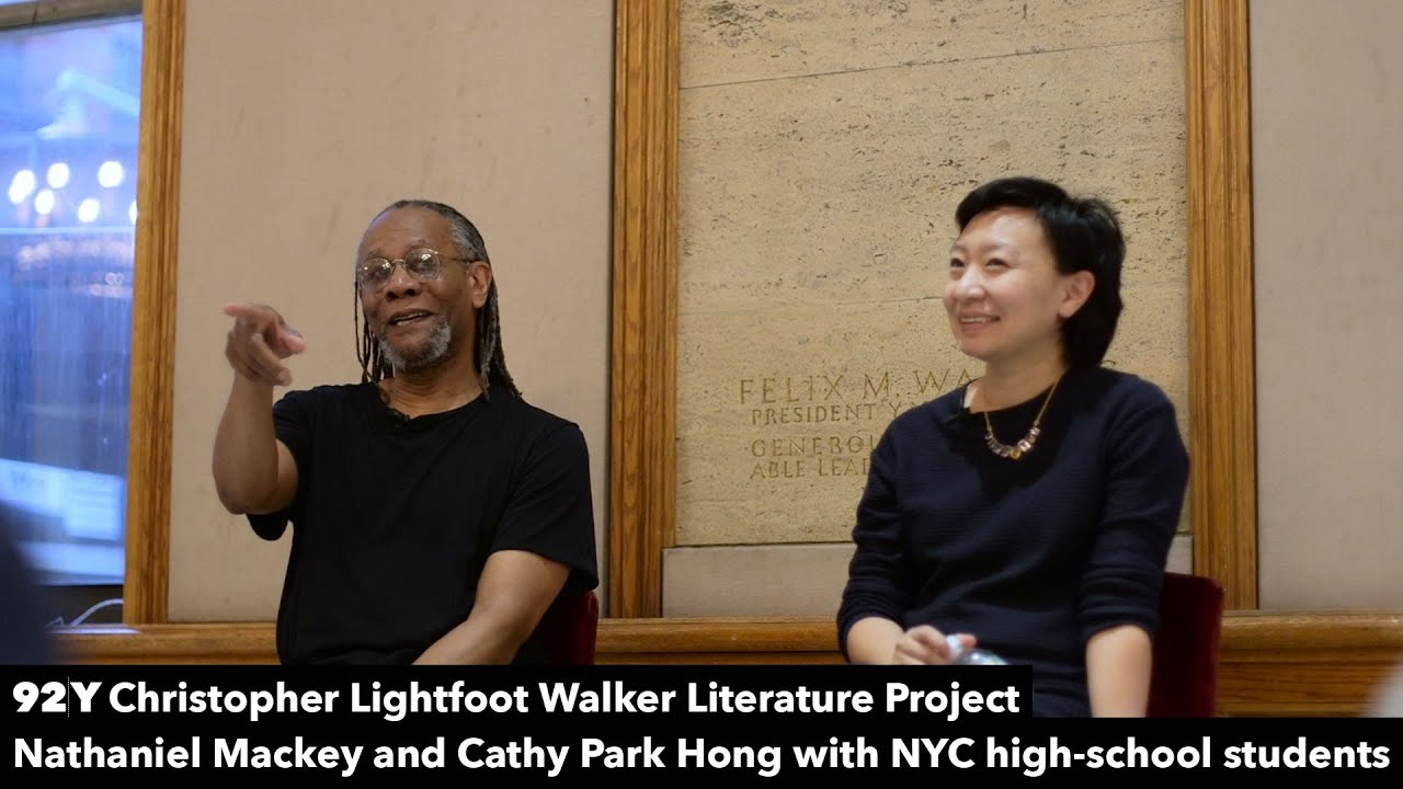 Nathaniel Mackey and Cathy Park Hong with New York City high-school students