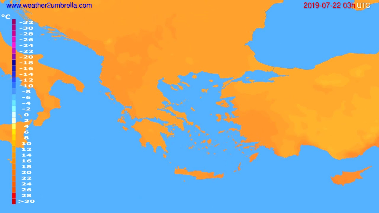 Temperature forecast Greece // modelrun: 00h UTC 2019-07-19