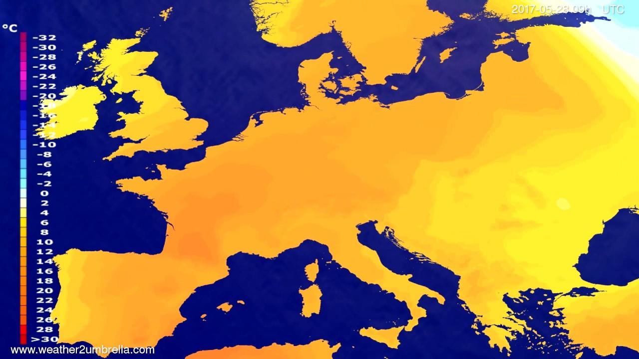 Temperature forecast Europe 2017-05-24