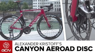 2017 was the first year the disc brakes were used in the Tour de France. This is Alexander Kristoff's Canyon Aeroad CF SLX Disc with new Zipp 454 NSW wheels and SRAM Red eTap HRD shifting and braking.Let us know your thoughts down in the comments and don't forget to SHARE this video.Subscribe to GCN: http://gcn.eu/SubscribeToGCNGet exclusive GCN gear in the GCN store! http://gcn.eu/izFrame and forks: Canyon Aeroad CF SLX Disc – almost identical to the rim brake version with a slight (we mean slight...) aerodynamic penaltyWheels: Pro-only Zipp 454 NSW, disc brake and for tubular tyres. Tyres: Continental Competition ProLtd tubulars, 25mmHandlebars: CanyonStem: CanyonSeatpost: CanyonSaddle: Selle Italia SLR Team EditionShifters: SRAM Red eTap HRD. Kristoff does not use SRAM Blips (satellite shifters)Brakes: SRAM Red HRD disc brakes, 160mm rotors with pro only smooth edgesFront Mech: SRAM Red eTapRear Mech: SRAM Red eTap with a WiFli cage to accommodate any size of cassetteChainset: SRAM RedPedals: Look Keo 2Chainring size: 39/53Powermeter: Quarq D-Zero PowermeterCassette: SRAM Force, 11-28Bottle cages: TacxBike weight: 7.835kgSaddle height: 80cmReach: 61cmSaddle to bar drop: 15cmStem length: 130mmCrank length: 175mmIf you'd like to contribute captions and video info in your language, here's the link 👍 http://gcn.eu/iyWatch more on GCN...Another pro bike 📹 http://gcn.eu/iAKatusha Team Truck Tour 📹 http://gcn.eu/iBPhotos: © Bettiniphoto / http://www.bettiniphoto.net/ & ©Tim De Waele / http://www.tdwsport.comAbout GCN:The Global Cycling Network puts you in the centre of the action: from the iconic climbs of Alpe D'Huez and Mont Ventoux to the cobbles of Flanders, everywhere there is road or pavé, world-class racing and pro riders, we will be there bringing you action, analysis and unparalleled access every week, every month, and every year. We show you how to be a better cyclist with our bike maintenance videos, tips for improving your cycling, cycling top tens, and not forgetting the weekly GCN Show. Join us on YouTube's biggest and best cycling channel to get closer to the action and improve your riding!Welcome to the Global Cycling Network  Inside cyclingThanks to our sponsors:Alta Badia:http://gcn.eu/AltaBadia- // Maratona Dles Dolomites: http://gcn.eu/MaratonaDlesDolomites-Assos of Switzerland: http://gcn.eu/AssosKASK helmets: http://gcn.eu/KASKfi'zi:k shoes and saddles: http://gcn.eu/fizikshoes and http://gcn.eu/fiziksaddlesTopeak tools: http://gcn.eu/TopeakCanyon bikes: http://gcn.eu/-CanyonQuarq: http://gcn.eu/QuarqDT Swiss: http://gcn.eu/DtSwissScience in Sport: http://gcn.eu/SiSOrbea bikes: http://gcn.eu/OrbeaTrek Bicycles: http://gcn.eu/-TrekVision wheels: http://gcn.eu/VisionZipp wheels: http://gcn.eu/Zipppower2max: http://gcn.eu/power2maxWahoo Fitness: http://gcn.eu/Wahoo-Fitness Park Tool: http://gcn.eu/-parktoolContinental tyres: http://gcn.eu/continental-Camelbak: http://gcn.eu/camelbak-YouTube Channel - http://gcn.eu/gcnYTFacebook - http://gcn.eu/gcnFbGoogle+ - http://gcn.eu/gcnGPlusTwitter - http://gcn.eu/gcnTWLeave us a comment below!