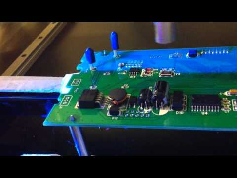 UV conformal coating - UV Conformal by Blaze Technology Pte Ltd. Featuring UV confomal coating sprayed under blacklight, notice the blue flourescing properties of the coating for g...