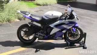 8. 2014 Yamaha YZF-R6 GYTR Exhaust Sound & Walkaround - Blue White 2014 Yamaha R6 Engine Start, Revving