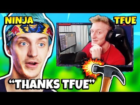 NINJA REACTS TO TFUE HIS GAME BREAKING BUILDING GLITCH   Fortnite Daily Funny Moments Ep.223