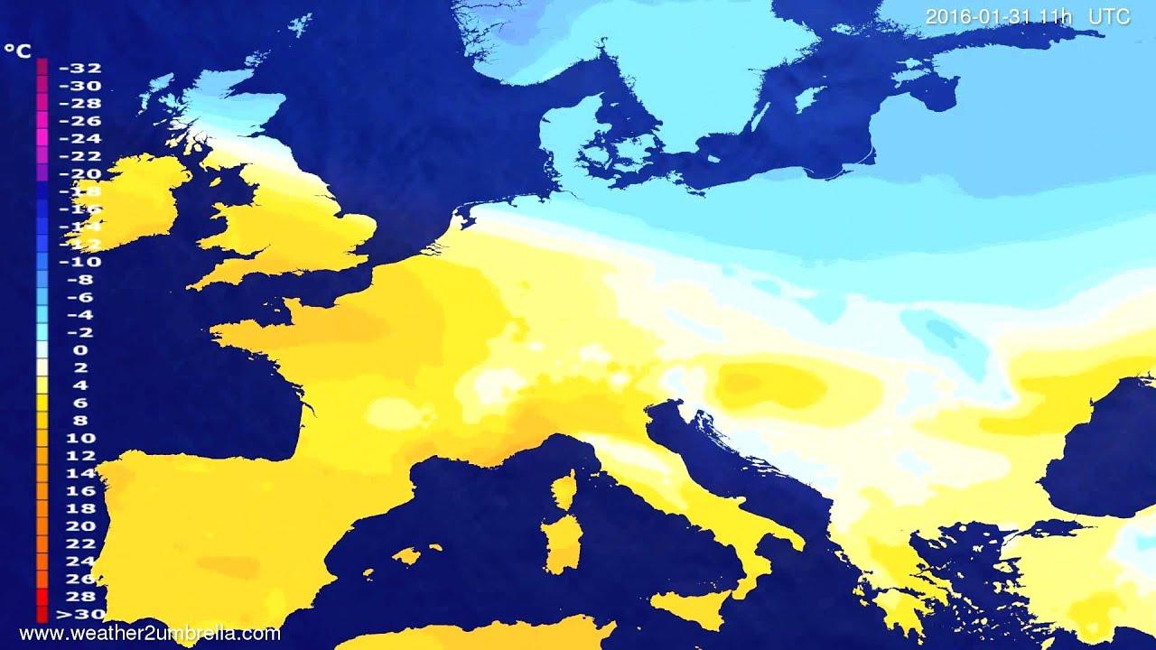 Temperature forecast Europe 2016-01-27