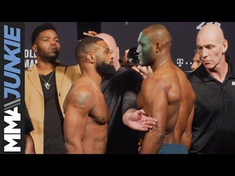 UFC 235: Tyron Woodley vs  Kamaru Usman staredown