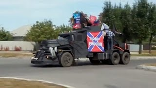 Militia Parade Military Vehicles Through Streets Of Shelled Lugansk, E. Ukraine