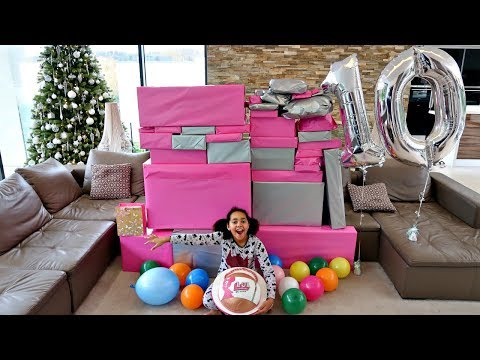 Tiana's 10th Birthday Party Opening Presents! Giant LOL Surprise Birthday Cake