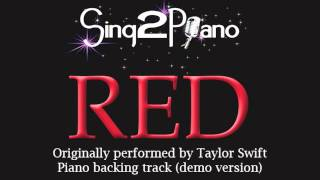 Red - Taylor Swift (Piano backing track) Karaoke Cover