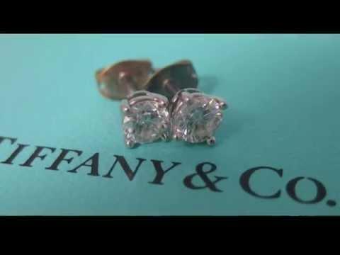 1/2CTW .5CTW TIFFANY & CO MATCHING DIAMOND EARRINGS PLATINUM SETTING!