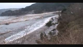 Iwate Japan  city pictures gallery : Mar 11, 2011 Tsunami, Namiita beach, Otsuchi, Iwate, Japan.wmv
