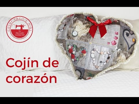 patchwork -  pillow heart shaped