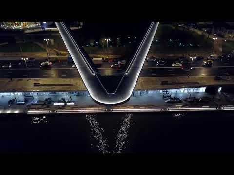 Парящий мост инновационного парка Зарядье. Москва.