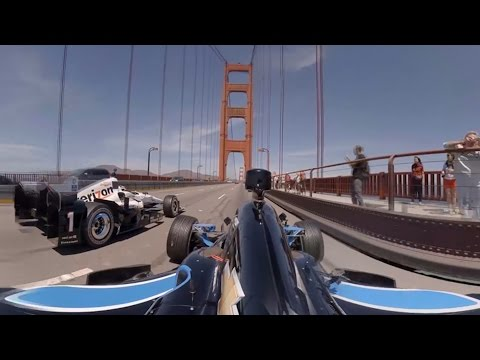 Indycars Over the Golden Gate Bridge