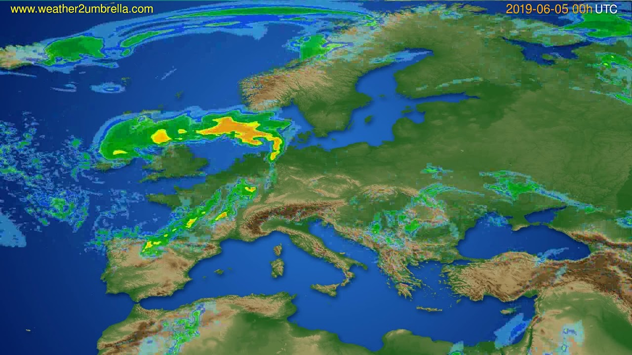 Radar forecast Europe // modelrun: 12h UTC 2019-06-04